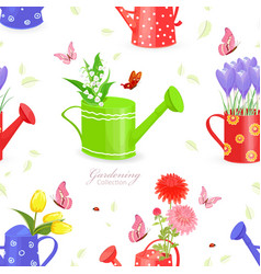 Seamless texture with lovely flowers in watering vector