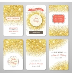 Set of perfect wedding templates with golden vector image vector image
