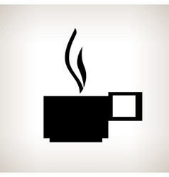 Silhouette cup with a hot drink on a light vector image
