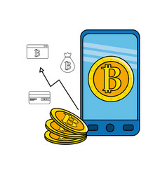 Smartphone with bitcoin inside and icons outside vector