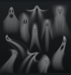 spooky transparent halloween ghost isolated vector image