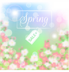 Spring sale floral background with blossoming vector