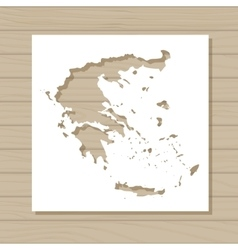 stencil template of Greece map on wooden vector image vector image