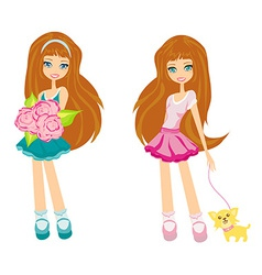 Sweet girls with dog and flowers vector