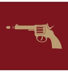 The gun icon pistol and handgun weapon revolver vector
