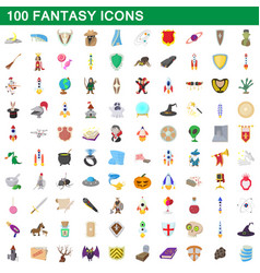 100 fantasy icons set cartoon style vector