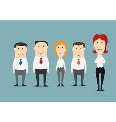 Female boss standing with her business team vector image