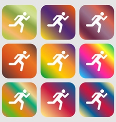 Running man icon nine buttons with bright vector