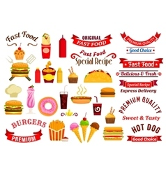 Fast food snacks drinks ribbons emblems vector