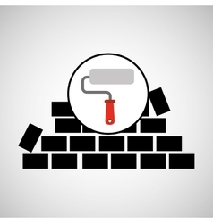 Wall brick paint roller design vector
