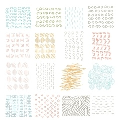 Set of grungy hand drawn textures on white vector