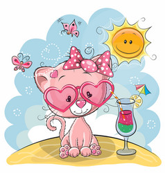 kitten on the beach vector image