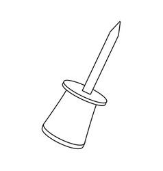 Push pin object school element vector