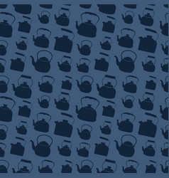 Seamless blue pattern with kettle vector