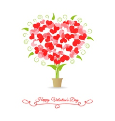Card happy valentine tree of hearts vector image