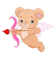 Valentine cupid bear vector