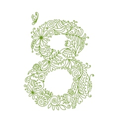 Floral number 8 for your design vector