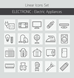Electric home appliances line icons set vector