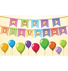 Happy birthday text on rope with balloons vector