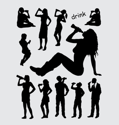 Drinking male and female silhouettes vector