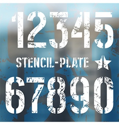 Stencil plate numbers in military style vector