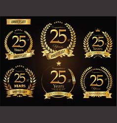anniversary golden laurel wreath 25 years vector image