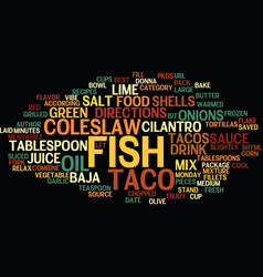 Best recipes baja fish tacos text background word vector