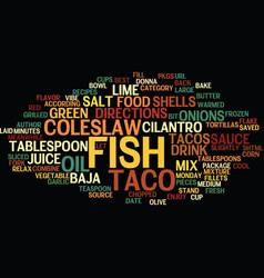 Best recipes baja fish tacos text background word vector