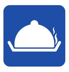 Blue white sign - serving tray with lid and smoke vector