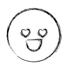 Blurred silhouette emoticon in love face vector