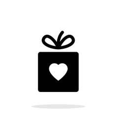 Box with heart iicon on white background vector image vector image