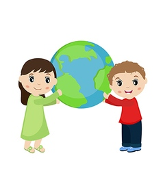 Boy and girl holding planet earth vector image