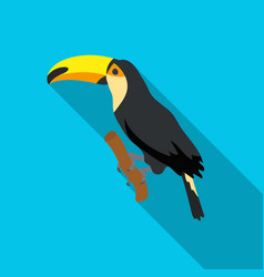 Brazilian toucan icon in flate style isolated on vector