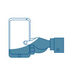 businessman hand holding smartphone app vector image