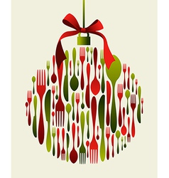Christmas bauble cutlery vector