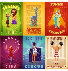 Circus 6 flat banners composition poster vector image