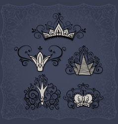 Crowns in doodle style vector