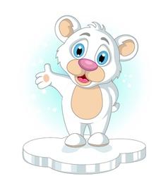 cute little Polar bear cartoon rising his hand vector image vector image