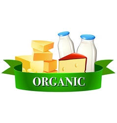Dairy products and sign vector