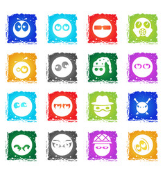emotions and glances icons vector image
