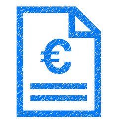Euro invoice page grunge icon vector