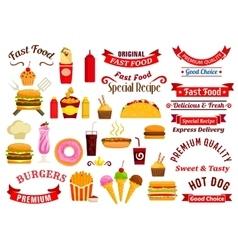 Fast food snacks drinks ribbons emblems vector