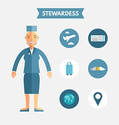 Flat design of stewardess with icon set vector