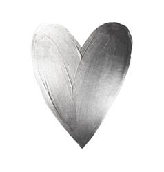 Foil paint heart on white background love vector