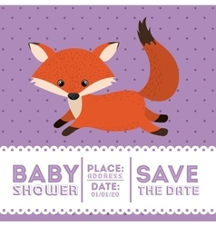 Fox animal baby shower card icon vector