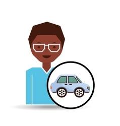 girl blue car sedan design vector image