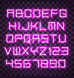 glowing blue purple alphabet vector image