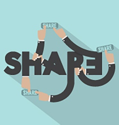 Hands With Share Typography Design vector image vector image