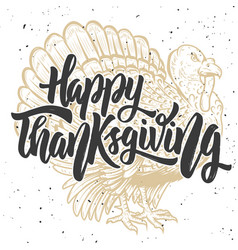 Happy thanksgiving hand drawn lettering on vector