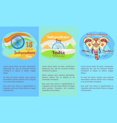 indian independence day posters with discriptions vector image